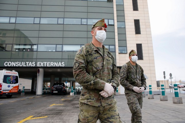 GRANADA, SPAIN - MARCH 24: Two soldiers of the Spanish Legion patrolling the area of the PTS Hospital in Granada on March 24, 2020 in Granada, Spain. (Photo by ??lex C??mara/Europa Press via Getty Images) (Photo by Europa Press News/Europa Press via Getty Images)
