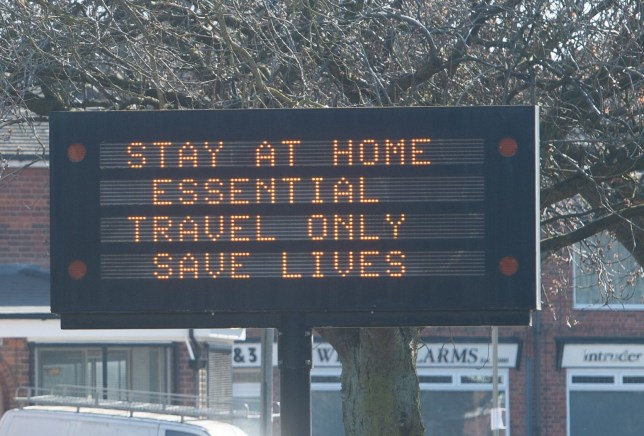 A road sign in Leicester urging people not to stay at home and only make essential journeys, after Prime Minister Boris Johnson has put the UK in lockdown to help curb the spread of the coronavirus. PA Photo. Picture date: Thursday March 26, 2020. The UK's coronavirus death toll reached 463 on Wednesday. See PA story HEALTH Coronavirus. Photo credit should read: Joe Giddens/PA Wire