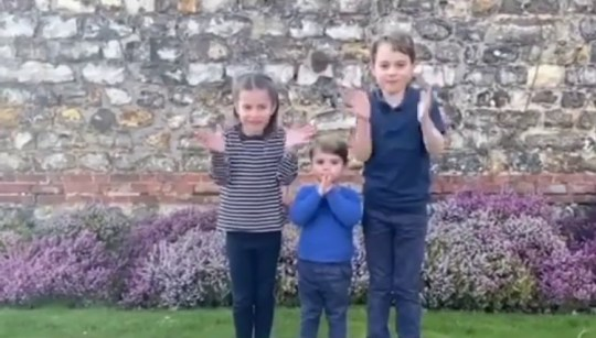 Charlotte, Louis and George clapping for NHS