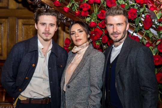 Mandatory Credit: Photo by Charlie Wheeler/REX (10051055a) Brooklyn Beckham, Victoria Beckham, David Beckham Kent & Curwen show, Front Row, Fall Winter 2019, London Fashion Week Men's, UK - 06 Jan 2019