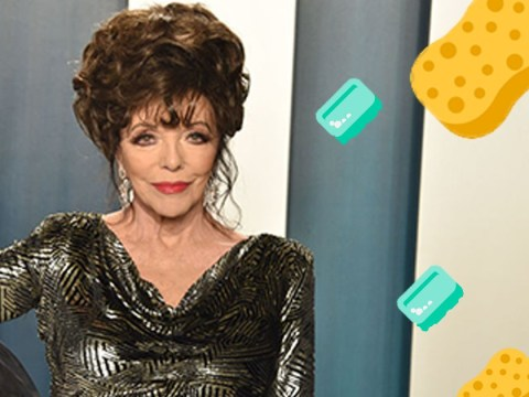 Dame Joan Collins gets to grips with life without a cleaner due to coronavirus lockdown
