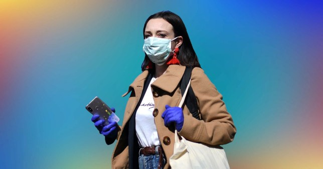 Woman wearing plastic gloves and a face mask, out and about.