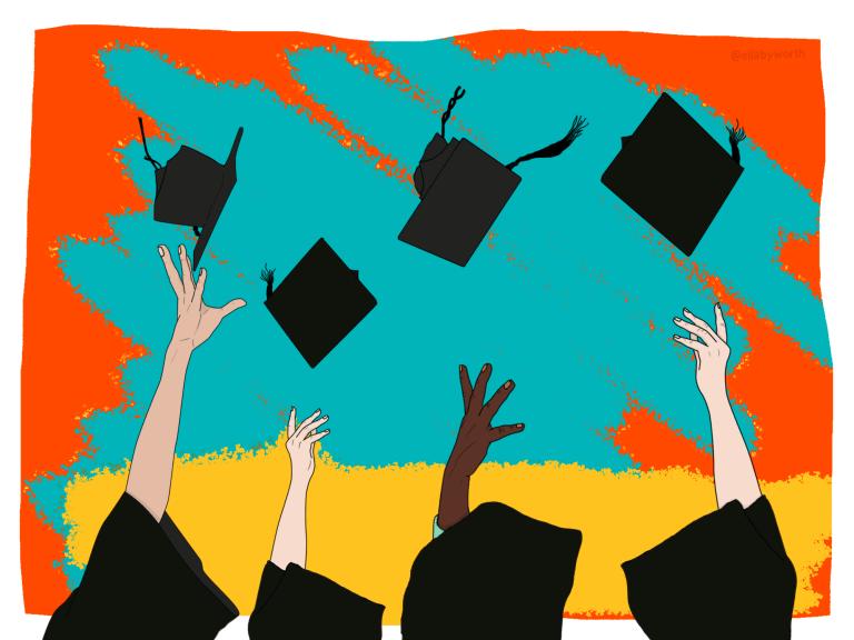 Mortar hats being thrown at graduation
