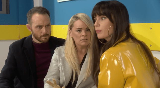 Mercedes, Grace and James in Hollyoaks