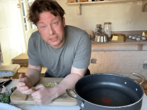 Jamie Oliver teaches how to make five-ingredient chicken pot pie