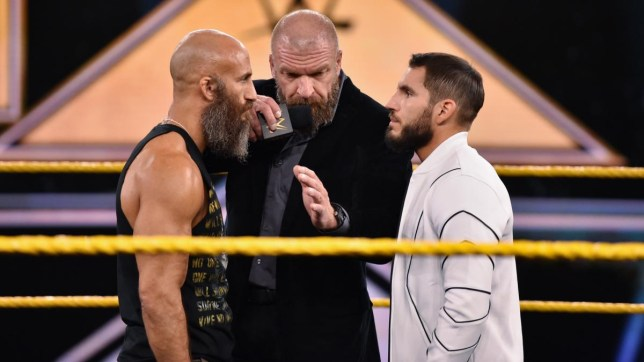 NXT superstars Tommaso Ciampa and Johnny Gargano with WWE legend Triple H