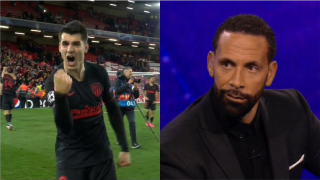 Rio Ferdinand trolled Alvaro Morate after Atletico Madrid knocked Liverpool out of the Champions League