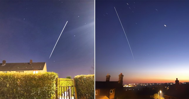 With a long exposure the ISS cuts a fine line across the night sky (@Liam_Ball92)