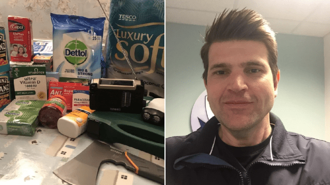 Split image of a pile of beans, medicines, an axe and toilet roll on one side, and on the other side a profile pic of Matt Mecham, a coronavirus prepper