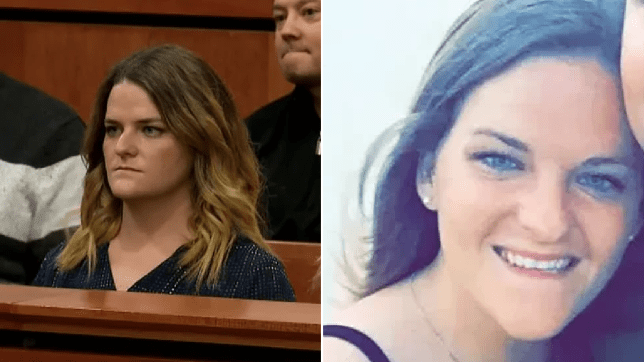 Photo of Kathryn Houghtaling in court next to file photo of her smiling