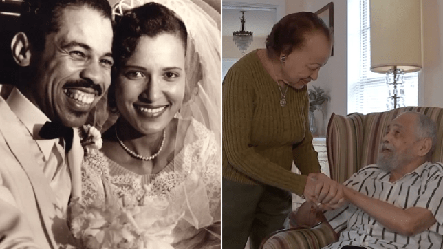 Wedding day photo of Clarice and Thomas Freeman next to photo of the couple holding hands today