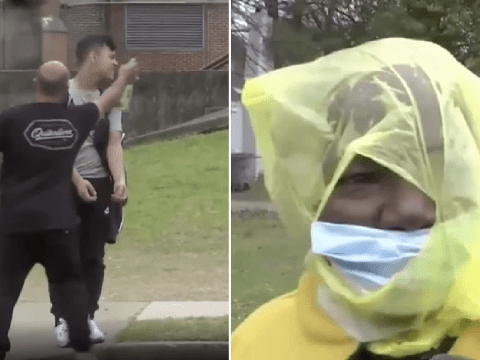 Parents filmed spraying school kids with disinfectant to try and avoid coronavirus