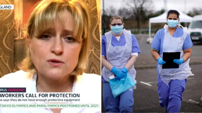 Nurse named Lorraine speaking on ITV Good Morning Britain about lack of NHS resources amid coronavirus outbreak (left) and nurses in Wolverhampton wearing face masks (right)