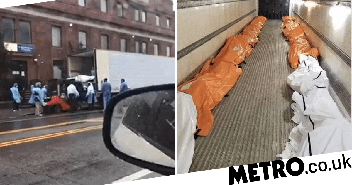 New York City: Forklift puts bodies of Covid-19 victims into...