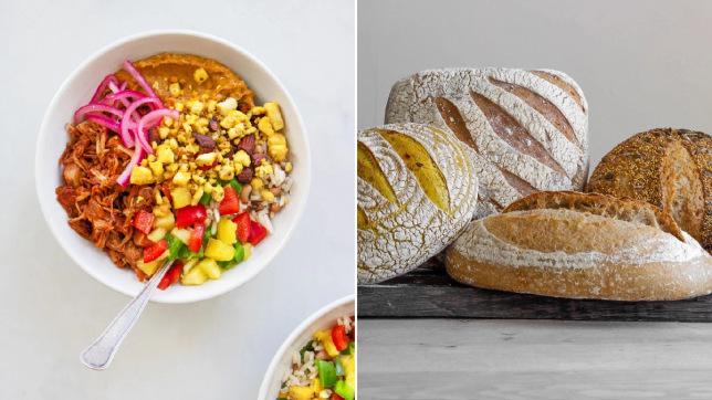 Split image of an allplants dish and bread from Hobbs House Bakery