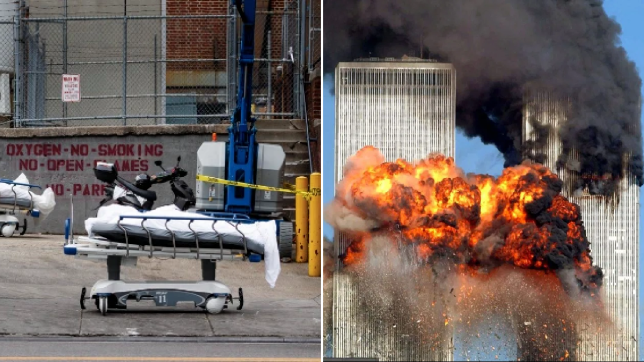 Pictures of coronavirus bodies outside Brooklyn Medical Center next to photo of exploding Twin Towers
