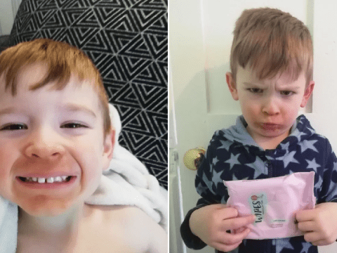 Gran leaves boy with 'Homer Simpson beard' after accidentally washing his face with fake tan wipes