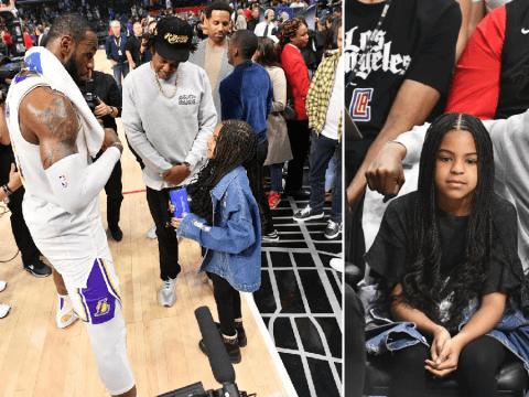 Blue Ivy starstruck by Lebron James as she watches basketball game with Jay Z