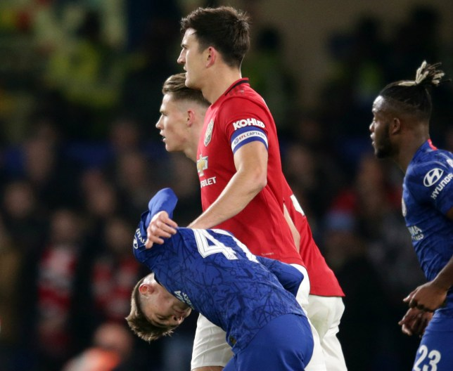 Billy Gilmour getting bullied by Harry Maguire during Chelsea's Carabao Cup defeat to Manchester United