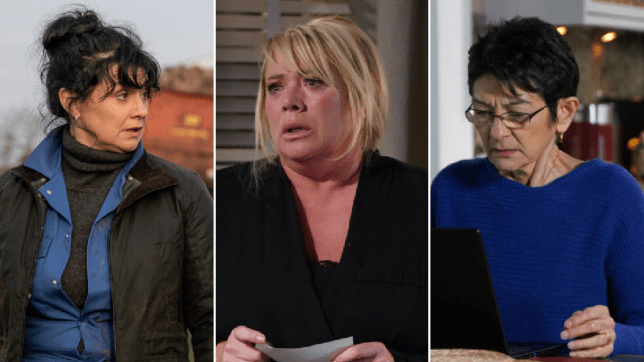 Moira, Sharon and Yasmeen in Emmerdale, EastEnders and Coronation Street