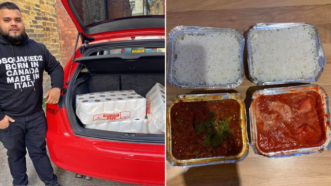 Man delivering free curries and loo roll