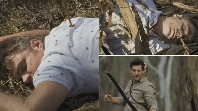 Gary Canning lies dead after being shot with a bow and arrow by Finn Kelly in Neighbours