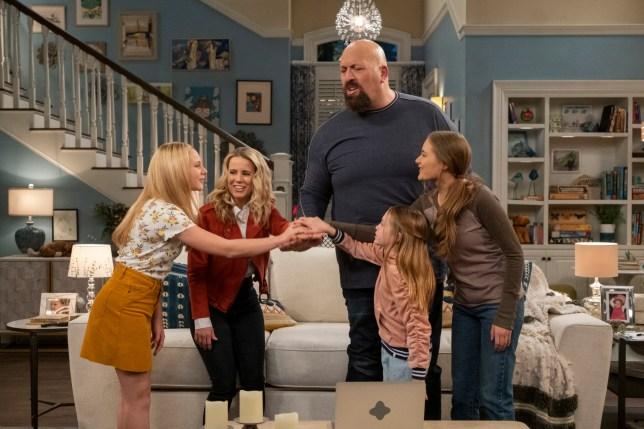 Allison Munn and Big Show on Netflix sitcom The Big Show Show