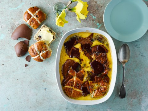 How to make easy hot cross bun bread and butter pudding with Easter leftovers