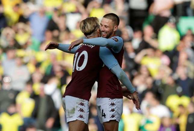 Manchester United transfer target Jack Grealish and Conor Hourihane celebrate during Aston Villa's Premier League clash with Norwich City