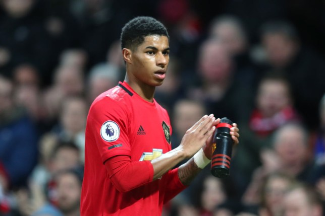 MANCHESTER, ENGLAND - JANUARY 11: Marcus Rashford of Manchester United is substituted during the Premier League match between Manchester United and Norwich City at Old Trafford on January 11, 2020 in Manchester, United Kingdom. (Photo by Catherine Ivill/Getty Images)