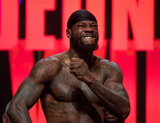 Deontay Wilder weighs in for his boxing match