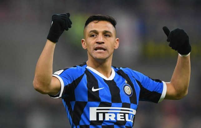 MILAN, ITALY - JANUARY 29: Alexis Sanchez of FC Internazionale gestures during the Coppa Italia Quarter Final match between FC Internazionale and ACF Fiorentina at San Siro on January 29, 2020 in Milan, Italy.  (Photo by Alessandro Sabattini/Getty Images)