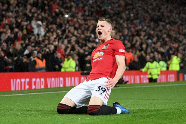 Scott McTominay celebrates scoring for Manchester United