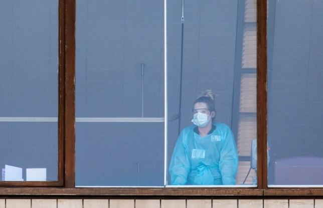 An NHS staff member at St Thomas' Hospital during the coronavirus pandemic