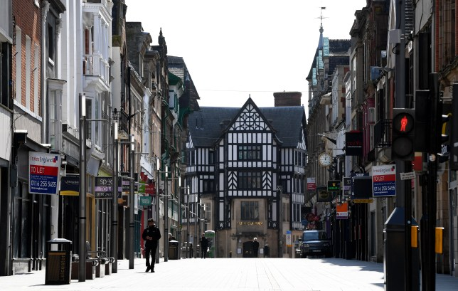 A general view of a deserted Market Street in Leicester city centre.