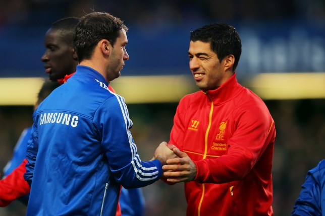 Former Liverpool striker Luis Suarez and Branislav Ivanovic