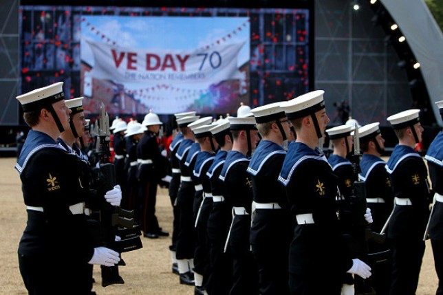 Soldiers marking the 70th anniversary of VE Day in 2015