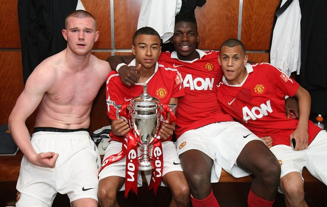 Manchester United youth players including Ravel Morrison, Paul Pogba and Jesse Lingard celebrate winning the FA Cup