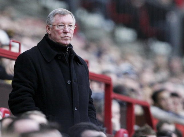 Sir Alex Ferguson looks on from the Manchester United bench