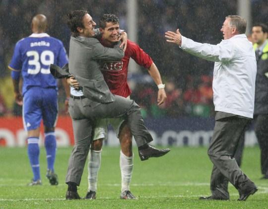 Manchester United stars Gary Neville, Cristiano Ronaldo and Sir Alex Ferguson