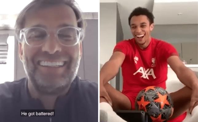 Jurgen Klopp trolls Trent Alexander-Arnold during Liverpool's morning Zoom workout