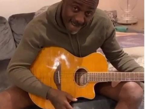 Idris Elba plays guitar without pants as he fights coronavirus lockdown boredom with wife Sabrina
