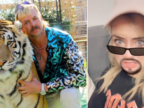 Laura Whitmore channels Tiger King's Joe Exotic as she and Iain Stirling become TikTok icons in isolation