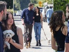 Ben Affleck and Ana de Armas completely smitten on dog walk