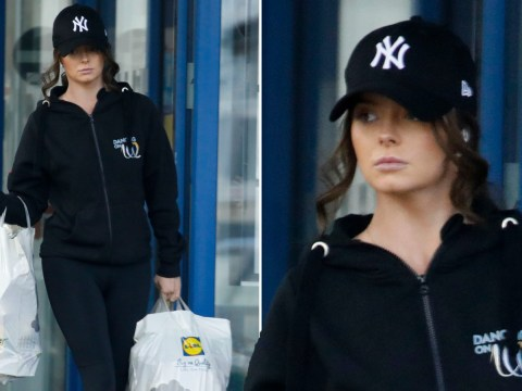 Maura Higgins practises social distancing as she heads to Lidl in her Dancing On Ice hoody