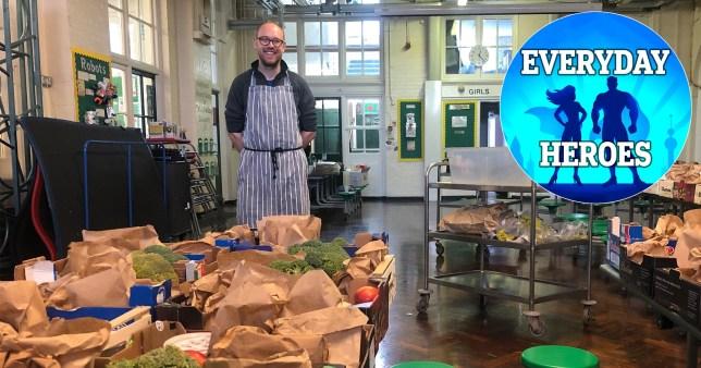 Jamie Welham volunteering in a school kitchen