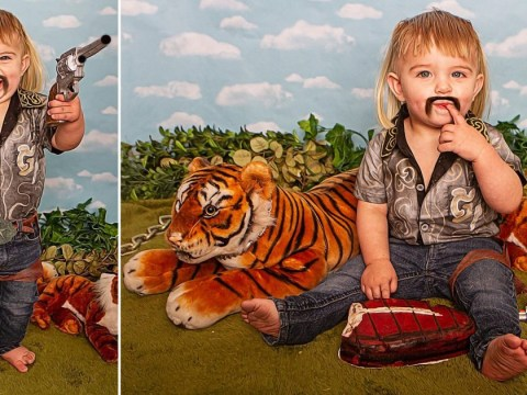 Mum creates photoshoot with toddler dressed as Tiger King but people aren't pleased