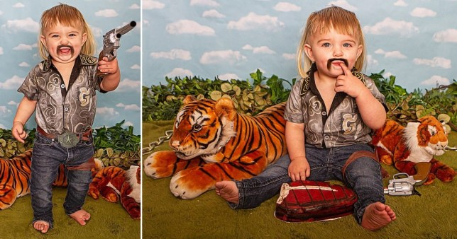 Toddler in tiger photoshoot
