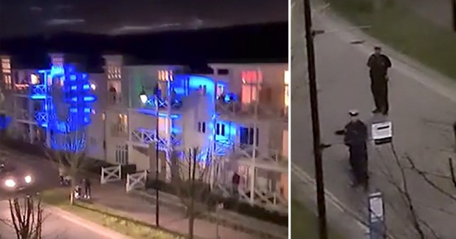 Police shut down a lockdown balcony party in the Holborough Lakes area of Kent