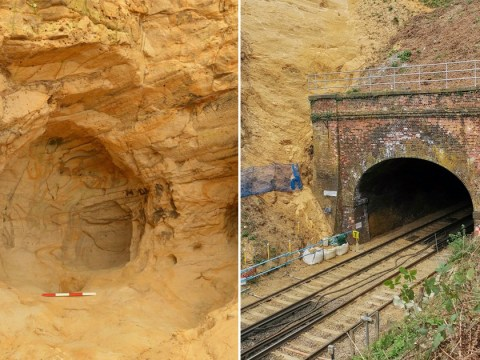 Landslide unveils cave with medieval shrine at side of railway